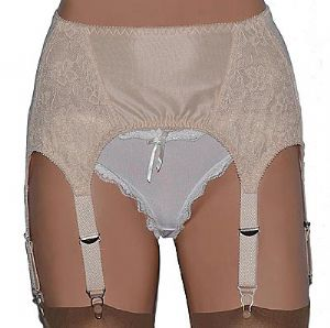 6 Strap Garter Belt in Power Mesh, Lace and Satin